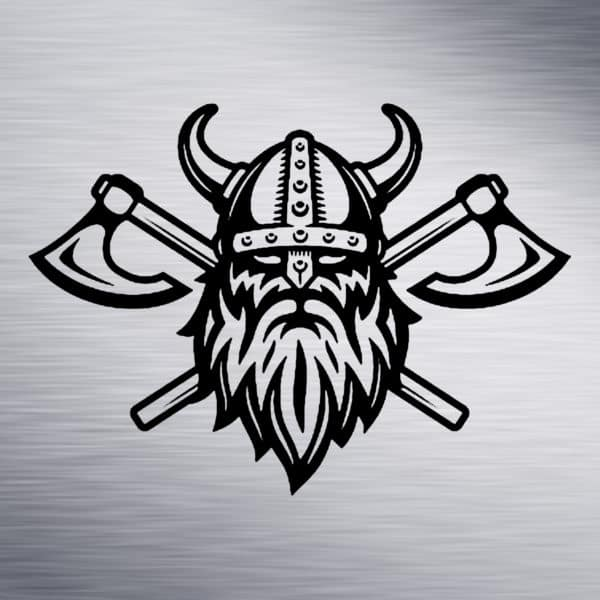 Viking with Axe Engraving Design