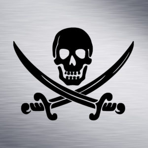 Custom Engraving 2″x 2″ Custom Engraving- Pirate Skull with Swords engraving