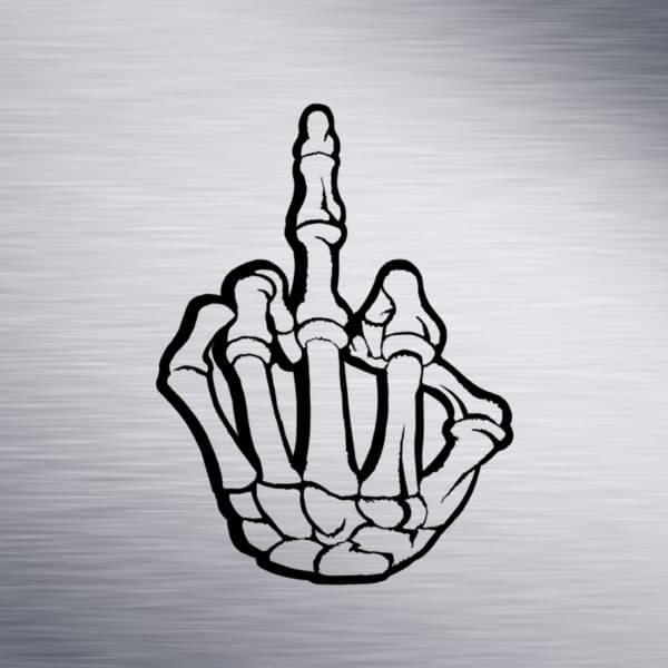 Skeleton Middle Finger Engraving Design