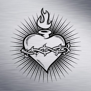 Heart with Flame and Thorns Engraving Design