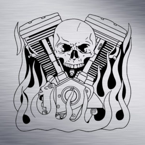 Motorcycle Engine with Skull and Flames Engraving Design