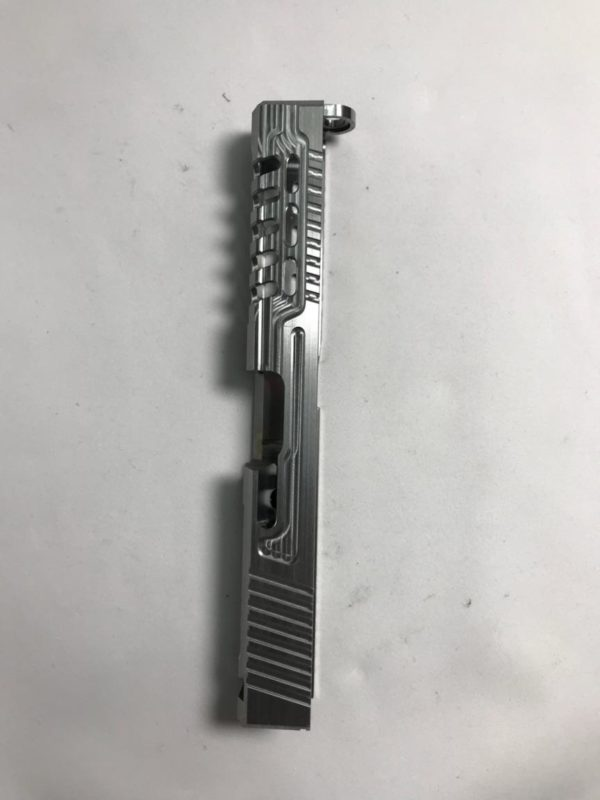 Side view of Glock slide milling